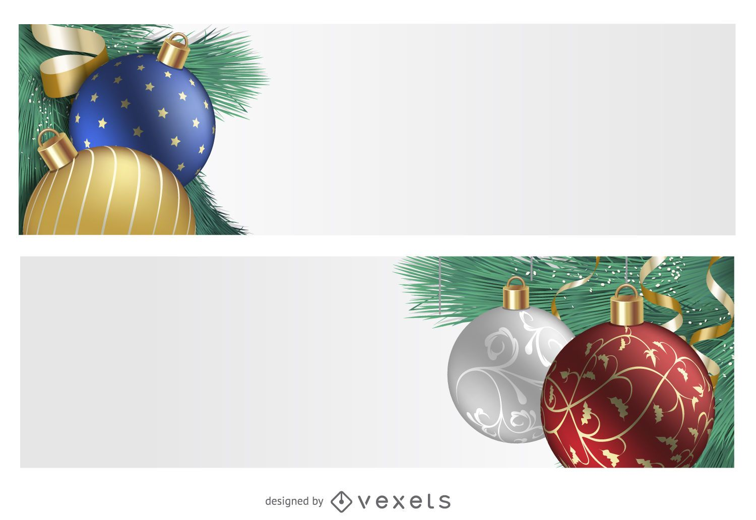 3D ornament Christmas banner set - Vector download