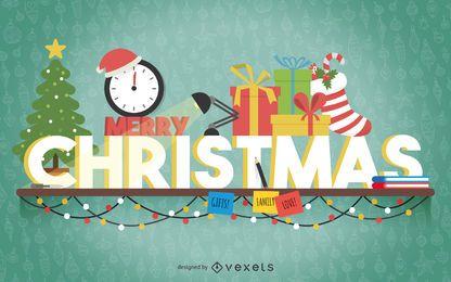 Cartel de banner de tipografía de Navidad