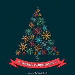 Flaches Weihnachtsdesign mit Schneeflocken