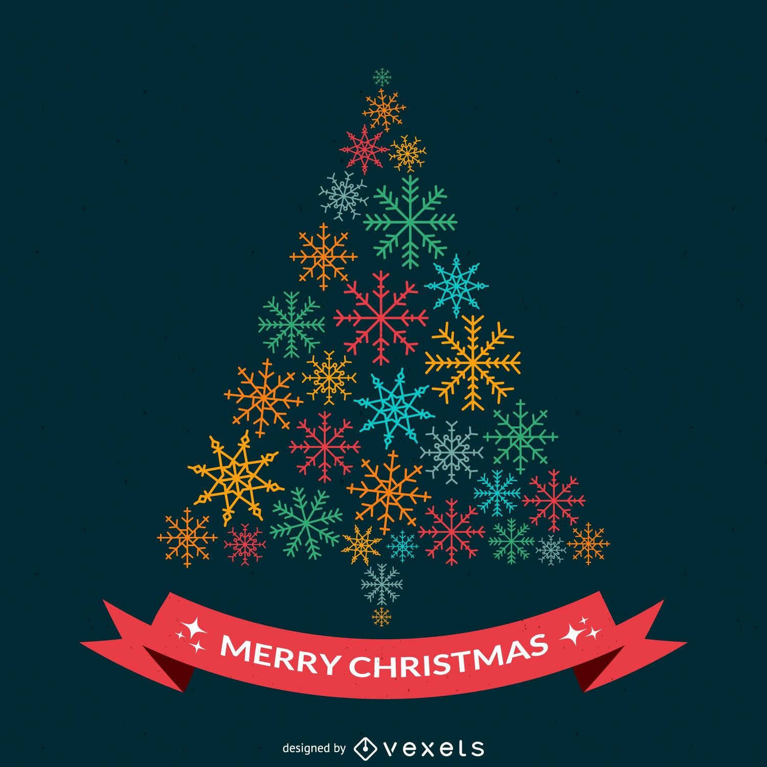 Christmas Design.Flat Christmas Design With Snowflakes Vector Download