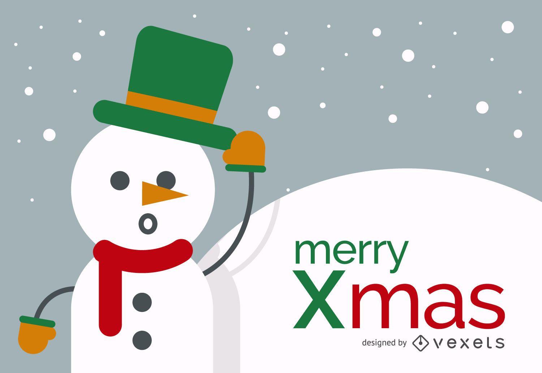 Diseño de muñeco de nieve feliz Navidad
