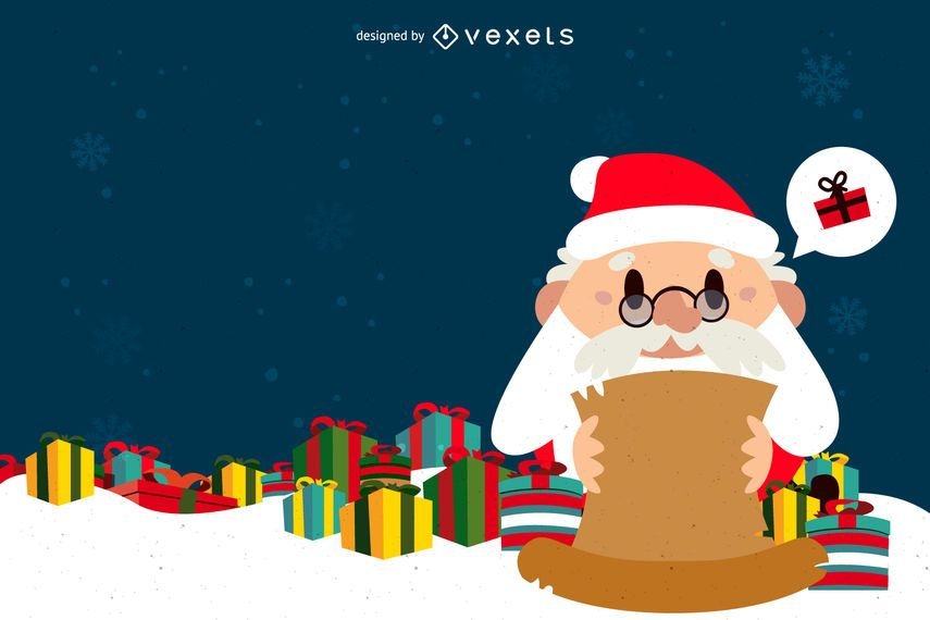 Flat Santa reading gift list