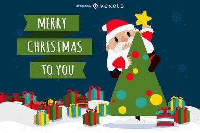 Feliz navidad santa con arbol