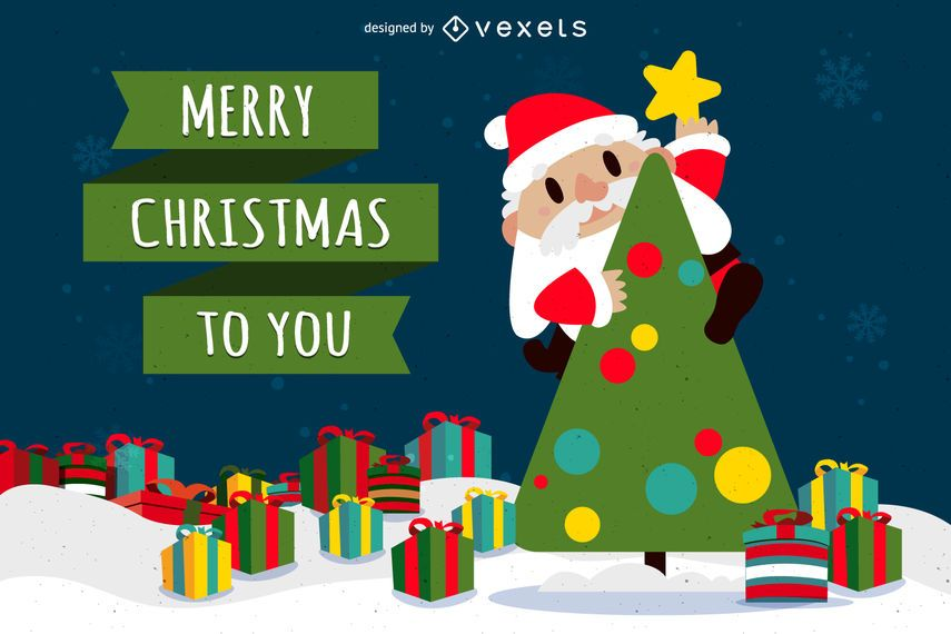 Merry Christmas Santa with tree