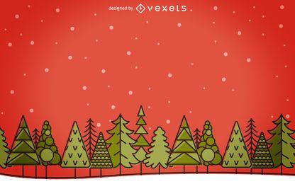 Paisaje de invierno de Navidad de trazo plano
