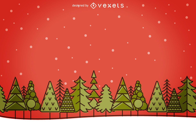 Flat stroke Christmas winter landscape