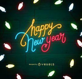 Cartel de luces de neón de año nuevo