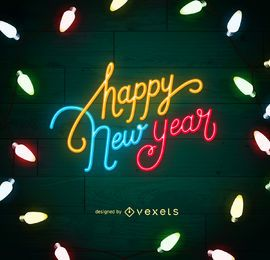 New Year neon lights sign