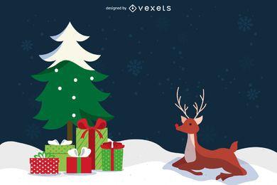 Rena de Natal plana com presentes