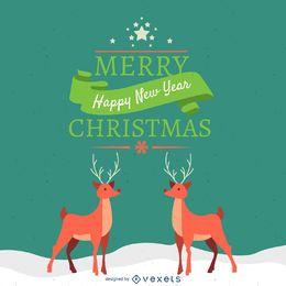 Design de cartão de rena de Natal