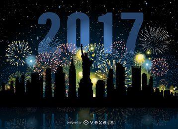 New Yorker Feuerwerkskyline von 2017