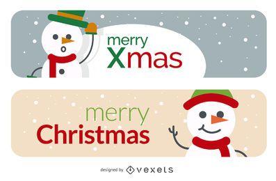 Flat Christmas snowman banner set