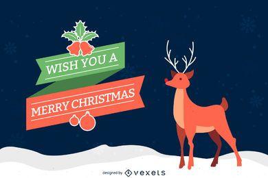 Ilustración de tarjeta de reno de Navidad
