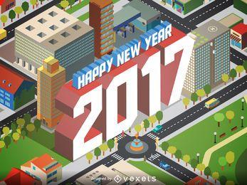 Design de cartaz isométrico de 2017