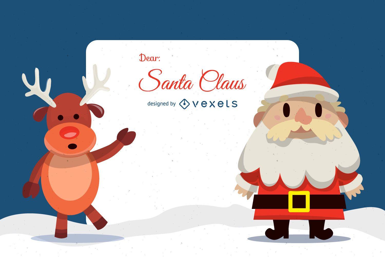 Ilustración de letra plana Dear Santa