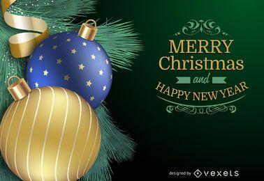 Ball-Hintergrundkarte des Weihnachten 3D