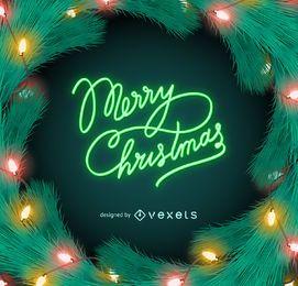 Feliz navidad letrero de luces de neón