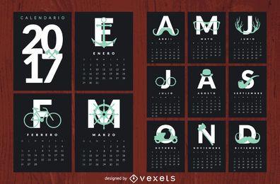 Hipster-Kalender 2017 auf Spanisch