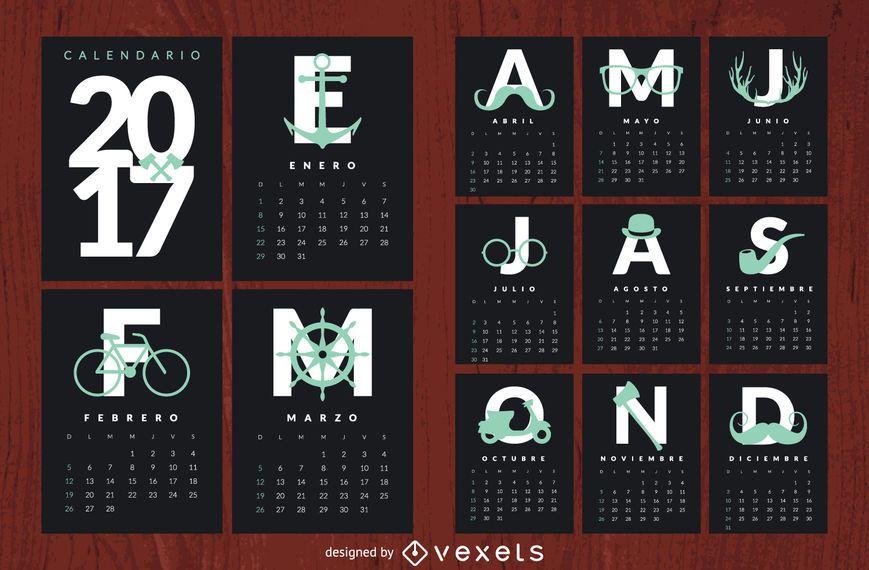 Hipster 2017 calendar em espanhol