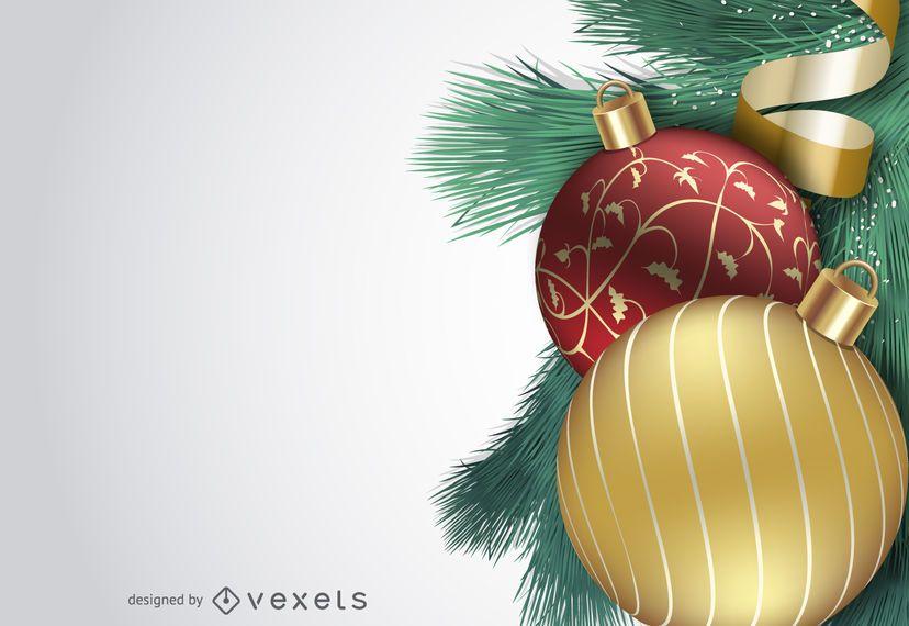 Cenário de bola de Natal 3D realista