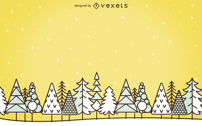 Fondo de paisaje de invierno de trazo