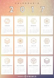 2017 geometric mesh calendar in Spanish