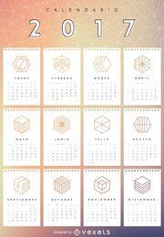 Calendário de malha geométrica de 2017 em espanhol