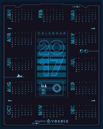 2017 calendario futurista