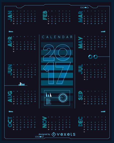 Futuristischer Kalender 2017