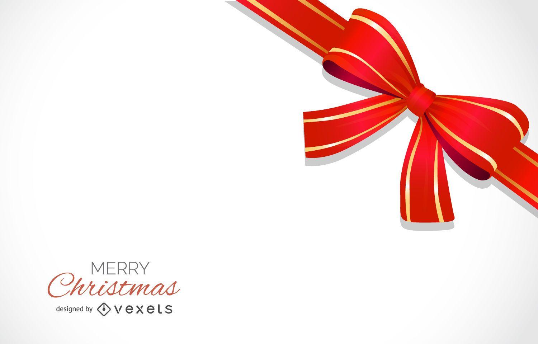 Diseño de fondo de lazo rojo de Navidad con letras