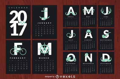 Hipster 2017 calendario
