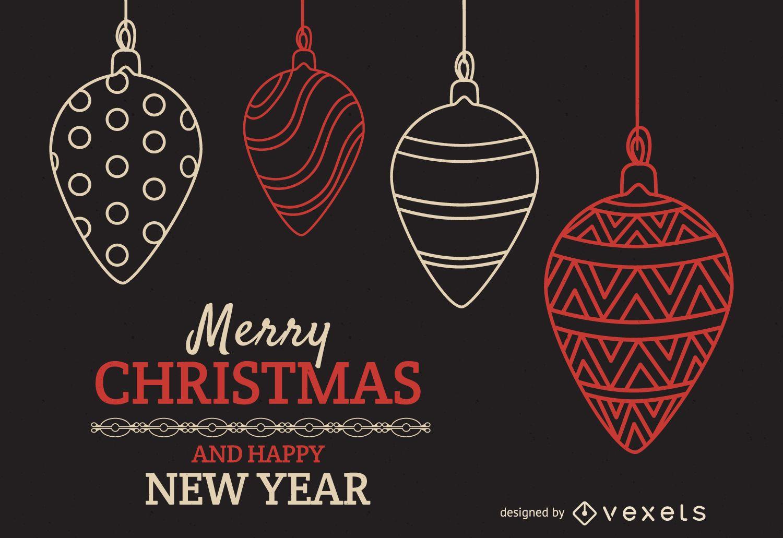 Christmas backdrop ornament outline