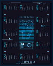 2017 calendário futurista em espanhol