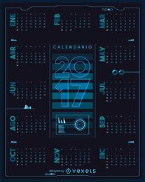 2017 futuristic calendar in Spanish