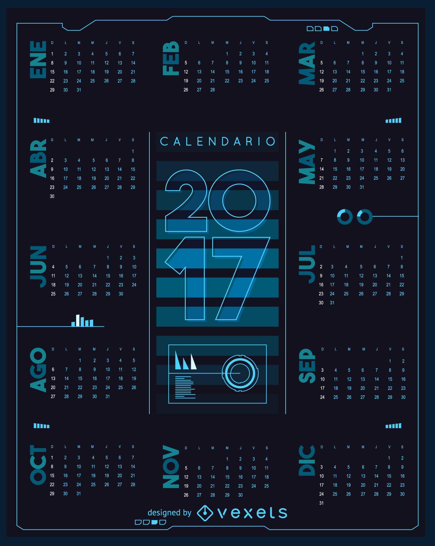 2017 futuristic calendar in Spanish