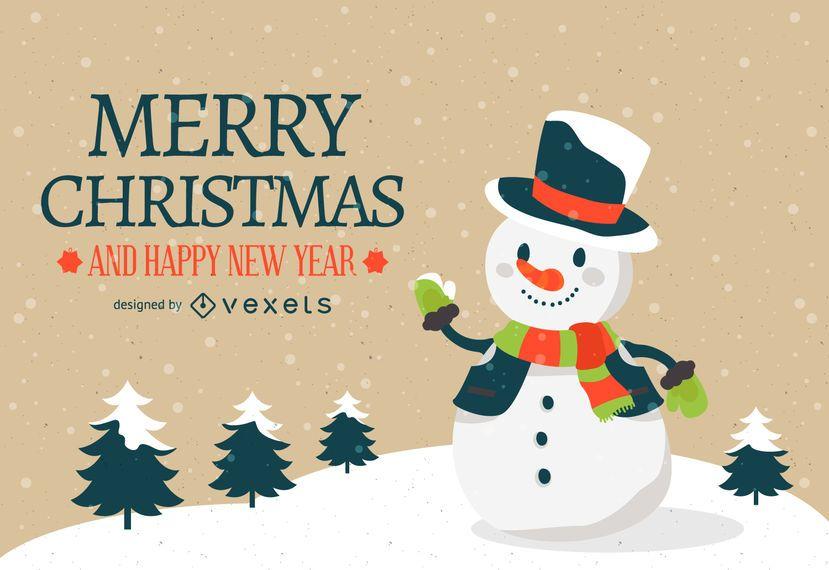 Diseño de fondo de muñeco de nieve de Navidad