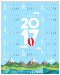 Calendário de 2017 low poly em espanhol