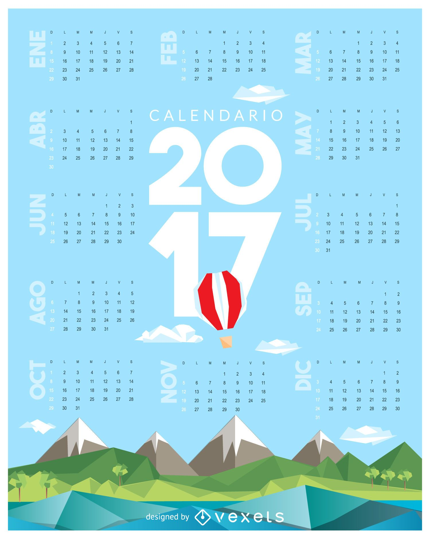 2017 low poly calendar in Spanish