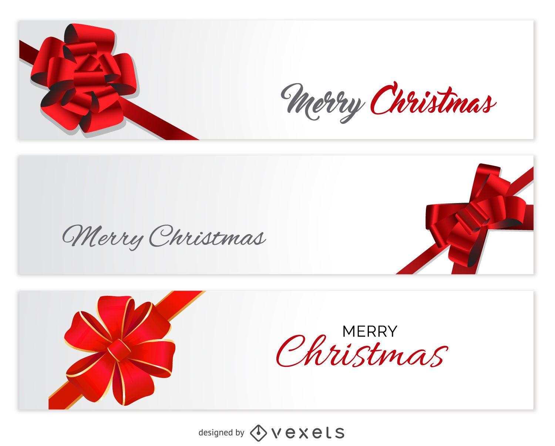 Christmas bow banner set