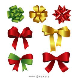 Realistic 3D gift bow set