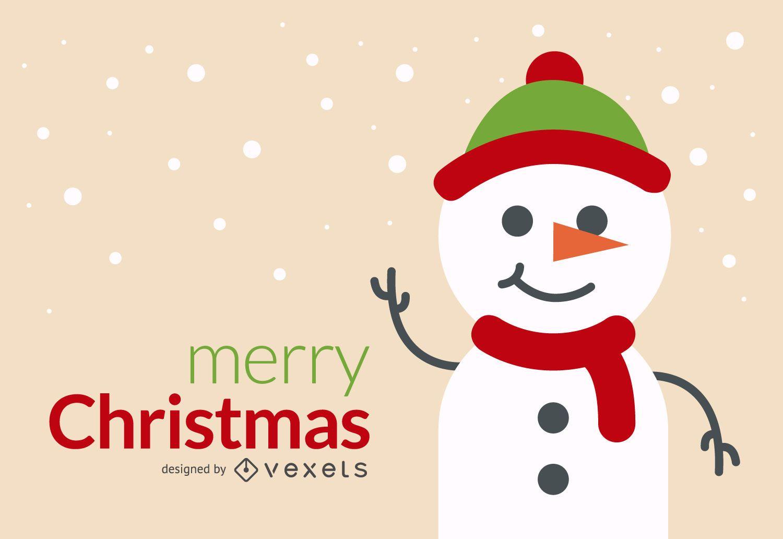 Diseño de tarjeta de muñeco de nieve navideño