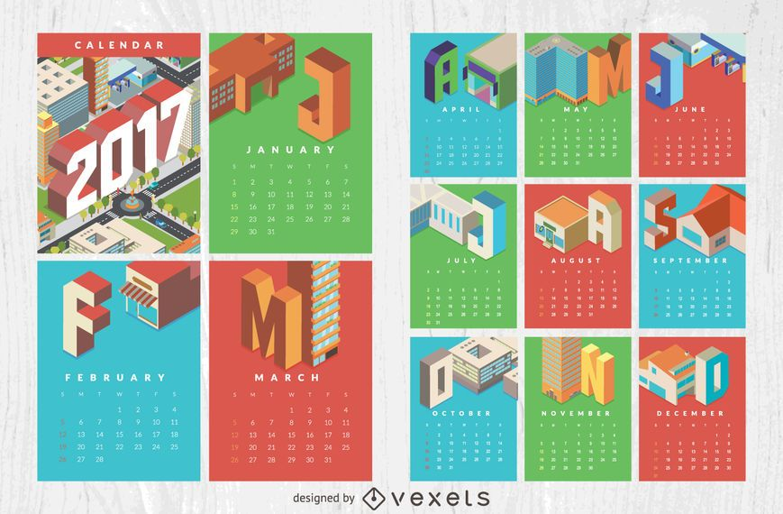Isometric 2017 calendar