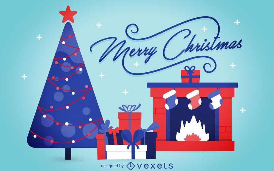 Flat Christmas Background Card Vector Download