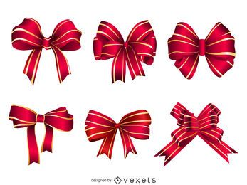 Realistic gift bow set