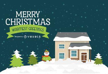 casa paisagem do inverno com etiqueta do Natal