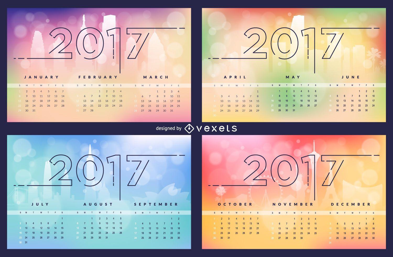 Skyline bokeh 2017 calendar