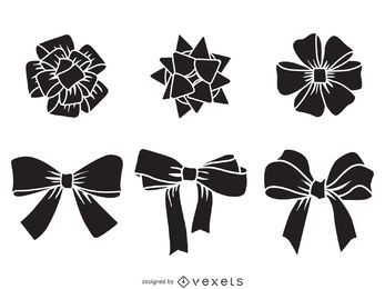 Christmas bow silhouette set