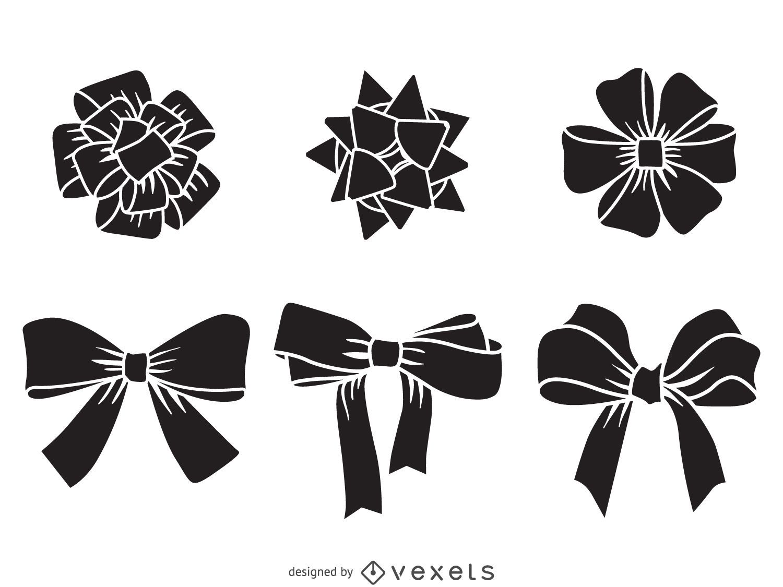 Christmas bow silhouette set