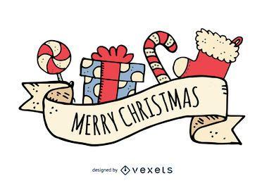 Hand gezeichneter Abzeichen der frohen Weihnachten Hand gezeichnet