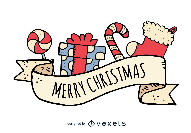 Dibujado a mano Feliz Navidad insignia dibujada a mano
